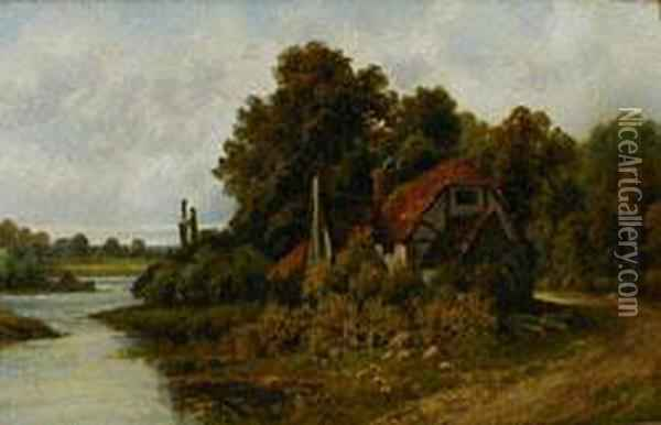 A Backwater, Pangbourne On Thaines Oil Painting - Octavius Thomas Clark