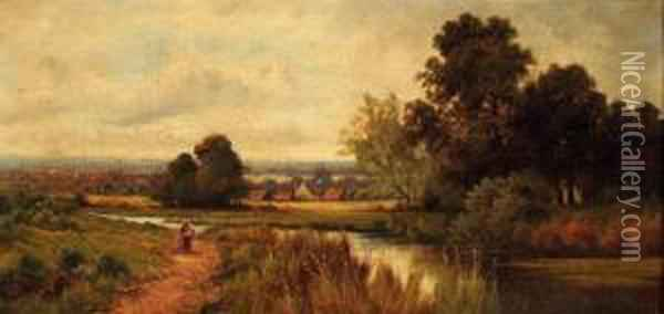 A Figure On A Path Beside A River Oil Painting - Octavius Thomas Clark