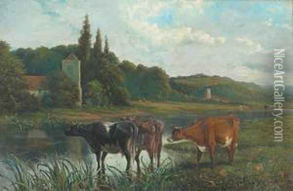 Cattle Watering, Church Beyond And Another In The Distance Oil Painting - Joseph Clark