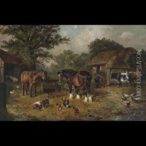 Farmyard With Horses, Cattle And Poultry Oil Painting - Joseph Clark