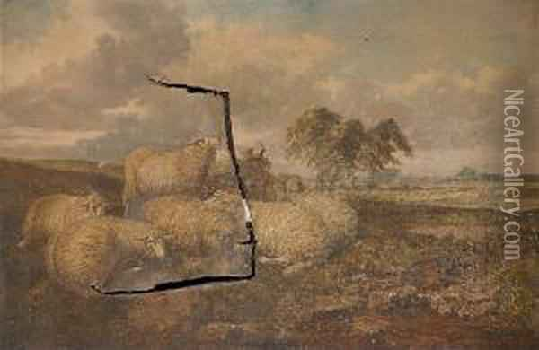 Sheep In A Rural Landscape Oil Painting - Joseph Clark