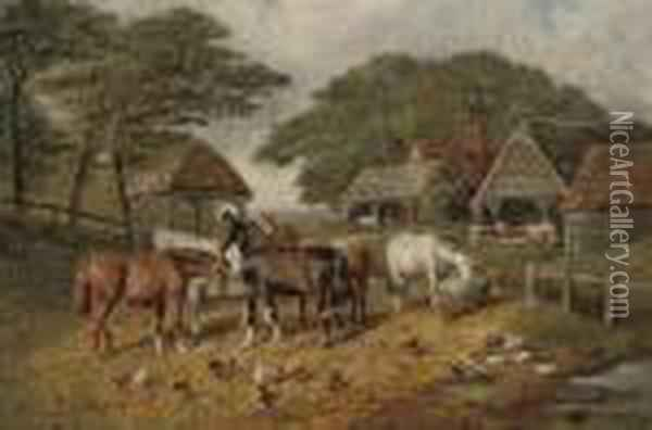 A Sunny Day In The Farmyard Oil Painting - Joseph Clark