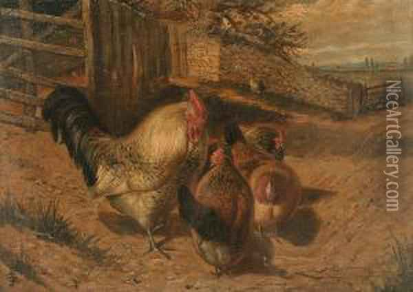 Chickens By A Country Lane, A Pair Oil Painting - Joseph Clark