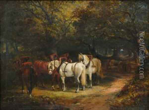 Team Of Horses And A Timberwagon In Woodland, Figure On A Path Beyond Oil Painting - Joseph Clark