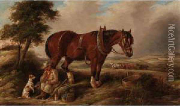 The Ploughman's Lunch Oil Painting - Joseph Clark