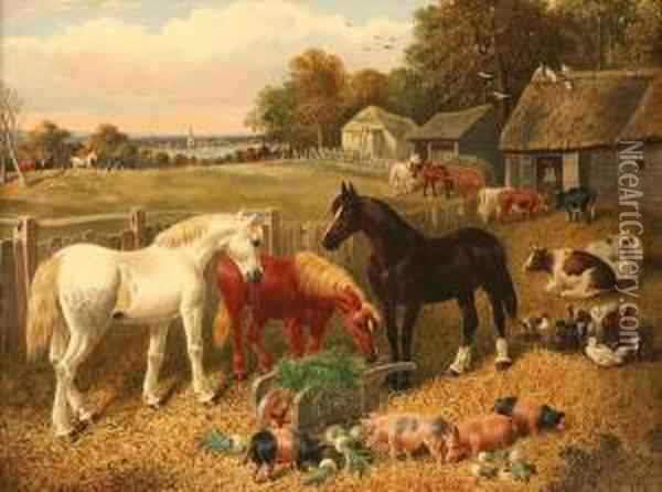 Farmyard With Horses And Livestock Oil Painting - Joseph Clark