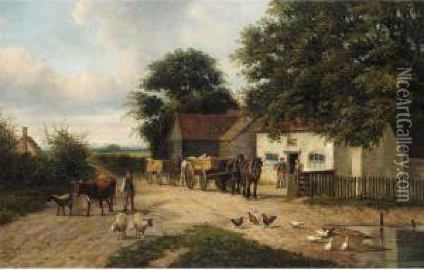 Livestock By The Village Pond Oil Painting - Joseph Clark