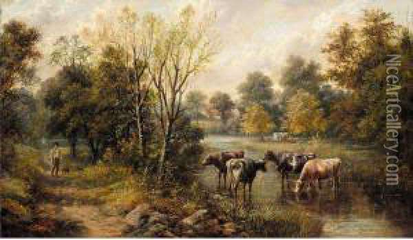 Landscape With Cattle Watering Oil Painting - Joseph Clark