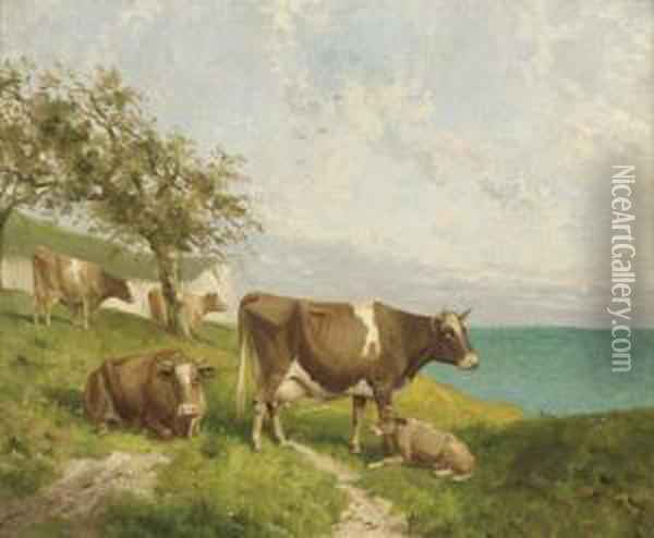 Cattle On The Cliffs; And Horses And Cattle On The Cliffs Oil Painting - Joseph Clark