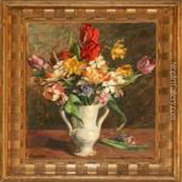 Flowers In A Vase Oil Painting - Gad Frederik Clement