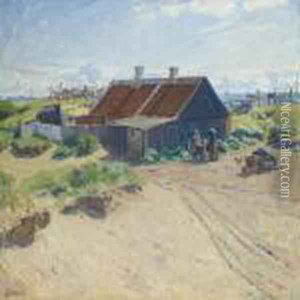 Scenery From Skagen Withwomen By Cottage Oil Painting - Gad Frederik Clement