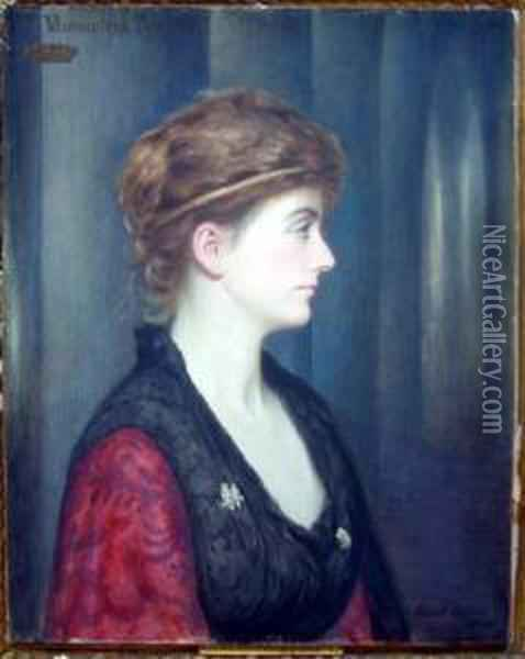 'lilian, Countess Of Cromartie' Signed And Dated 1884 25.5 X 20.5in Oil Painting - Edward Clifford