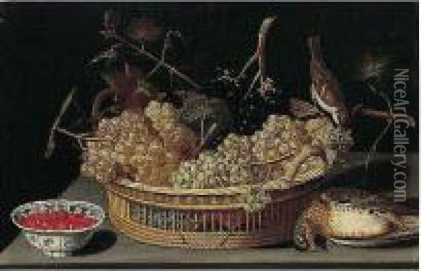 A Still Life Of A Basket Of  Grapes, With A Sparrow And A Thrush And Fraises-de-bois In A  Blue-and-white Porcelain Bowl Upon A Table Top Oil Painting - Francesco Codino