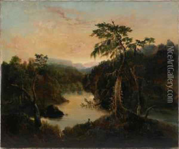 Catskill Landscape With Osprey Oil Painting - Thomas Cole