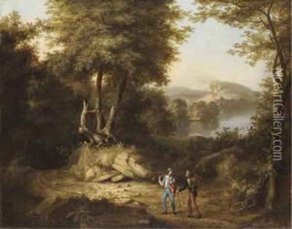 Hunters In A Landscape Oil Painting - Thomas Cole