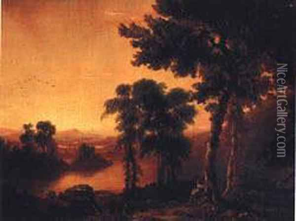 Poetic Sunset Oil Painting - Thomas Cole