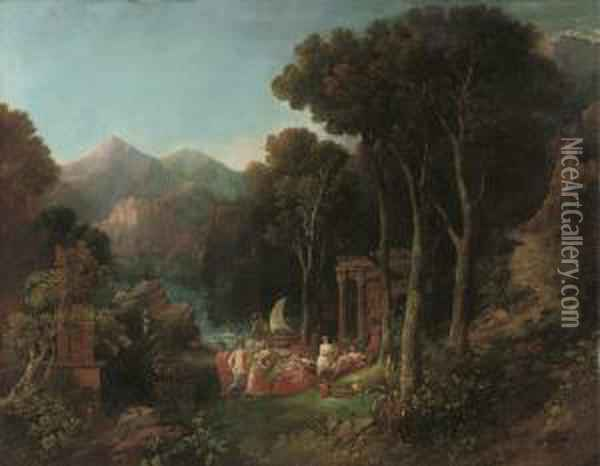 A Mountainous Wooded River Landscape With A Bacchanal Oil Painting - Charles Caryl Coleman