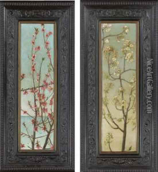Blossoming Pink Branches; Blossoming White Branches: Two Works Oil Painting - Charles Caryl Coleman