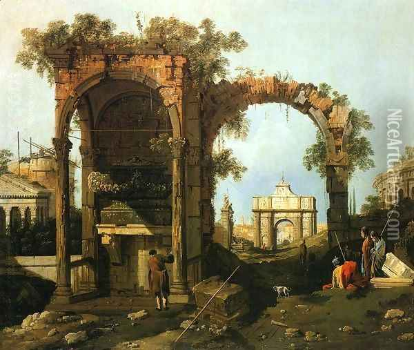 Capriccio Ruins and Classic Buildings 1730s Oil Painting - (Giovanni Antonio Canal) Canaletto