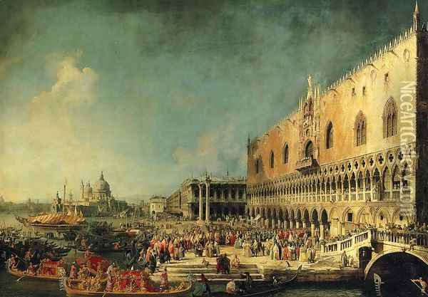 Arrival of the French Ambassador in Venice 1740s Oil Painting - (Giovanni Antonio Canal) Canaletto