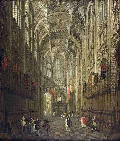Interior of Henry VII's Chapel, Westminster Abbey, c.1750 Oil Painting - (Giovanni Antonio Canal) Canaletto