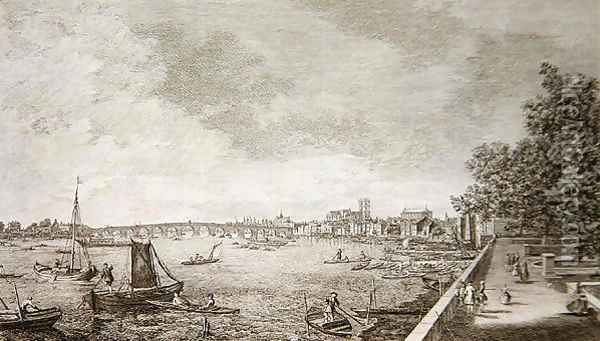 A View from Somerset Gardens to Westminster Bridge, 1750 Oil Painting - (Giovanni Antonio Canal) Canaletto