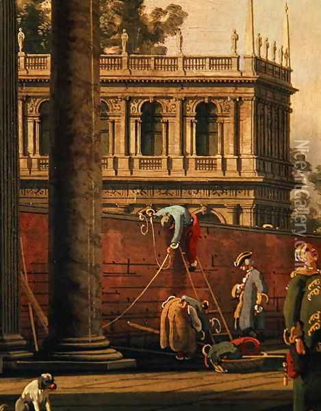 Capriccio of a man scaling a wall Oil Painting - (Giovanni Antonio Canal) Canaletto
