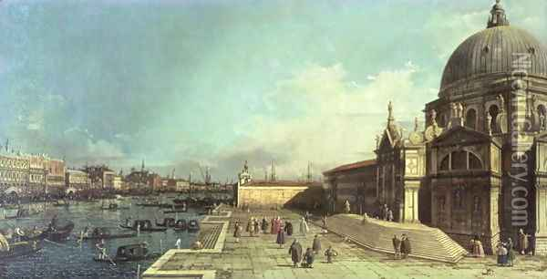 The entrance to the Grand Canal, Venice with the Church of Santa Maria della Salute Oil Painting - (Giovanni Antonio Canal) Canaletto
