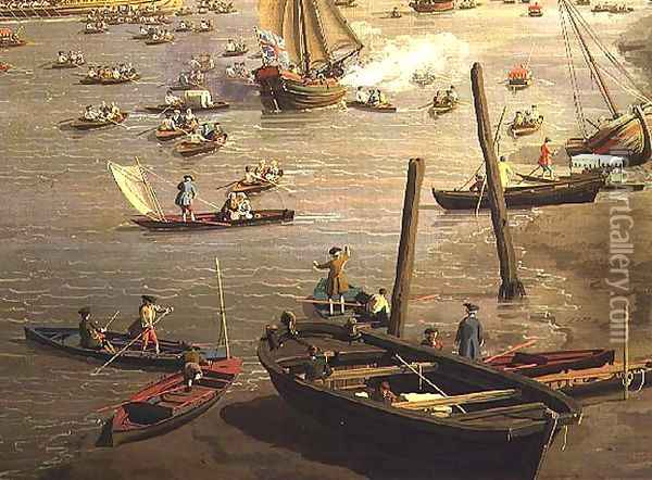 The River Thames with St. Paul's Cathedral on Lord Mayor's Day, detail of boats by the shore, c.1747-48 Oil Painting - (Giovanni Antonio Canal) Canaletto