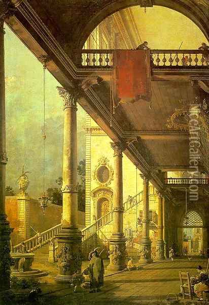 Capriccio A Colonnade Opening onto the Courtyard of a Palace 1765 Oil Painting - (Giovanni Antonio Canal) Canaletto