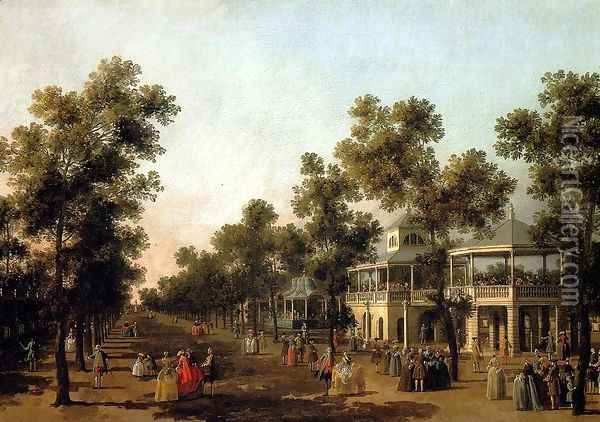 View Of The Grand Walk, vauxhall Gardens, With The Orchestra Pavilion, The Organ House, The Turkish Dining Tent And The Statue Of Aurora Oil Painting - (Giovanni Antonio Canal) Canaletto