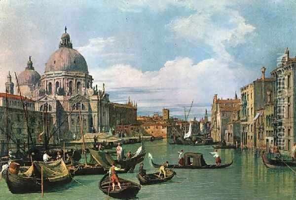 The Grand Canal And The Church Of The Salute Oil Painting - (Giovanni Antonio Canal) Canaletto