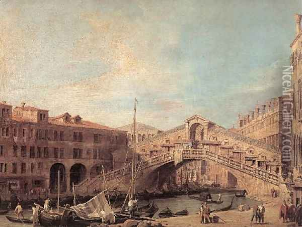 Grand Canal The Rialto Bridge From The South Oil Painting - (Giovanni Antonio Canal) Canaletto