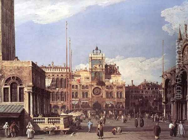 Piazza San Marco The Clocktower 1729 Oil Painting - (Giovanni Antonio Canal) Canaletto