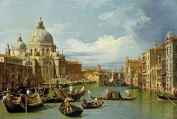 The Entrance to the Grand Canal, Venice, c.1730 Oil Painting - (Giovanni Antonio Canal) Canaletto