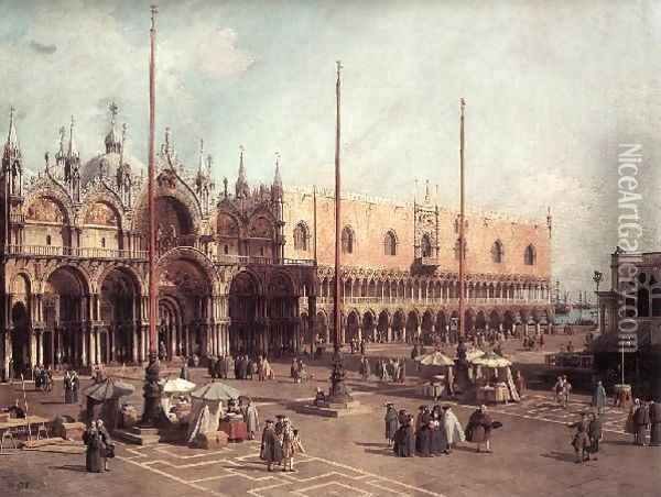 Piazza San Marco Looking South East Oil Painting - (Giovanni Antonio Canal) Canaletto