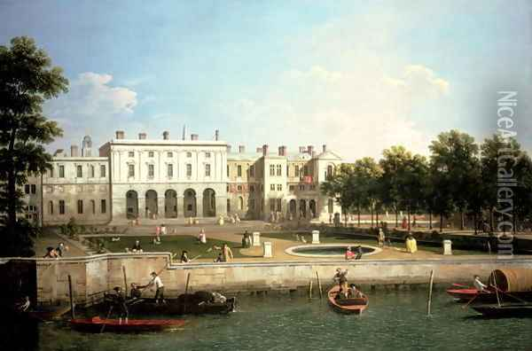Old Somerset House from the River Thames, c.1746-50 Oil Painting - (Giovanni Antonio Canal) Canaletto