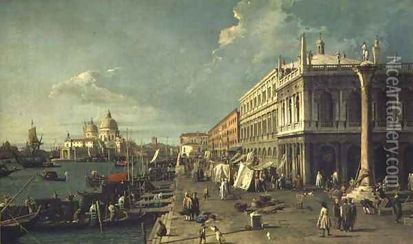 The Molo With The Library And The Entrance To The Grand Canal Oil Painting - (Giovanni Antonio Canal) Canaletto