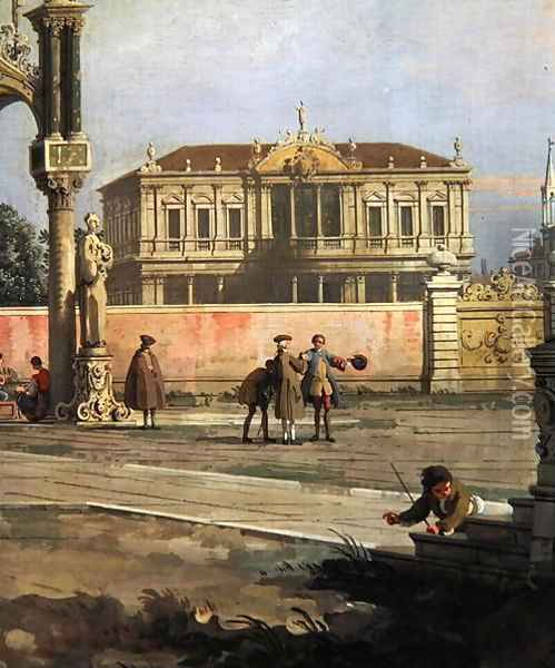 Detail of a Town House and a public square Oil Painting - (Giovanni Antonio Canal) Canaletto