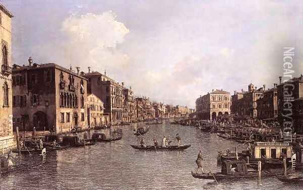 Grand Canal Looking South East From The Campo Santa Sophia To The Rialto Bridge Oil Painting - (Giovanni Antonio Canal) Canaletto