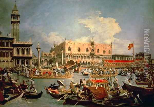 Return of the Bucintoro on Ascension Day Oil Painting - (Giovanni Antonio Canal) Canaletto