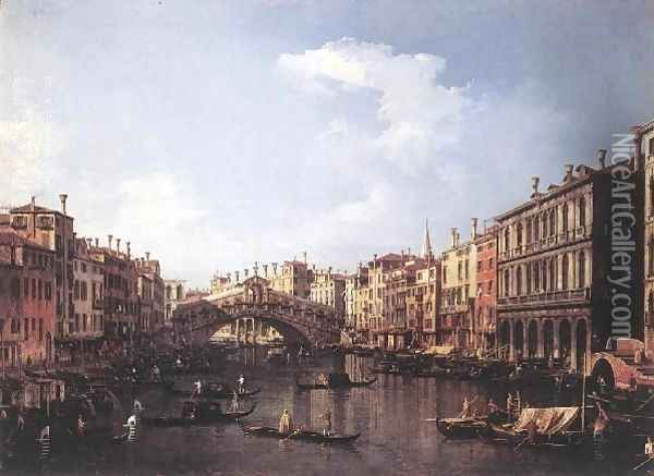 The Rialto Bridge From The South Oil Painting - (Giovanni Antonio Canal) Canaletto