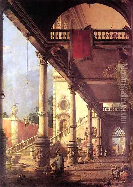 Perspective Oil Painting - (Giovanni Antonio Canal) Canaletto