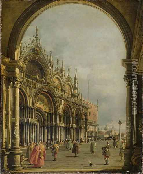 St. Mark's, Venice, c.1756 Oil Painting - (Giovanni Antonio Canal) Canaletto