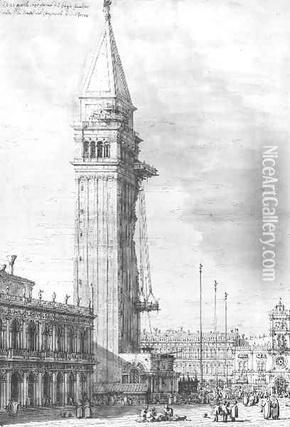 The Piazzetta Looking North The Campanile Under Repair Oil Painting - (Giovanni Antonio Canal) Canaletto