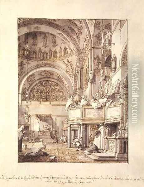 San Marco The Crossing And North Transept With Musicians Singing Oil Painting - (Giovanni Antonio Canal) Canaletto