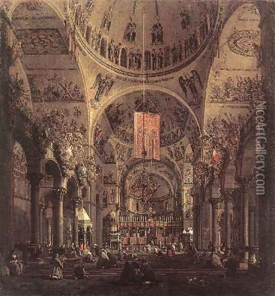San Marco The Interior Oil Painting - (Giovanni Antonio Canal) Canaletto
