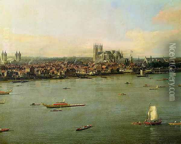 View of the Thames and Westminster Bridge, detail of Westminster Abbey, 1746-47 (detail) Oil Painting - (Giovanni Antonio Canal) Canaletto