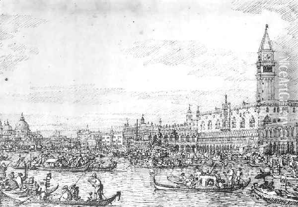 Venice The Canale Di San Marco With The Bucintoro At Anchor Oil Painting - (Giovanni Antonio Canal) Canaletto