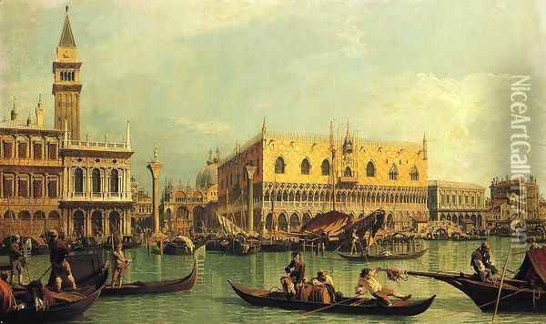 Piazzetta and the Doge's Palace from the Bacino di San Marco Oil Painting - (Giovanni Antonio Canal) Canaletto
